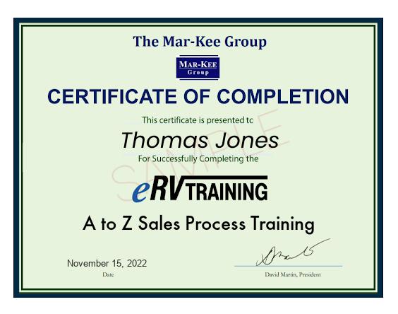 eRVtraining Certificate of Completion