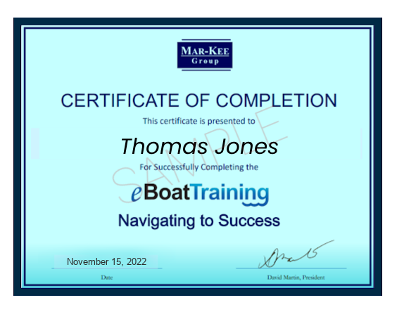 eBoatTraining Certificate of Completion