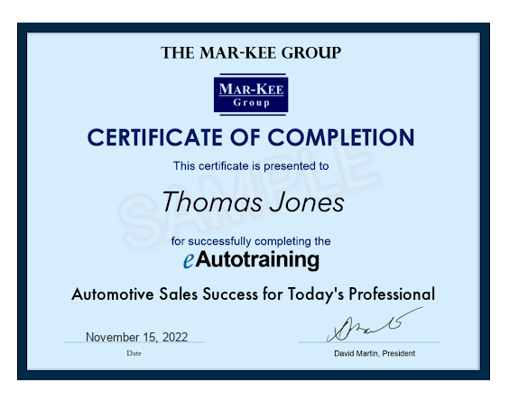 eAutotraining Certificate of Completion