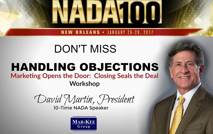 The Mar-Kee Group's David Martin to Present Handling Objections Workshop at NADA